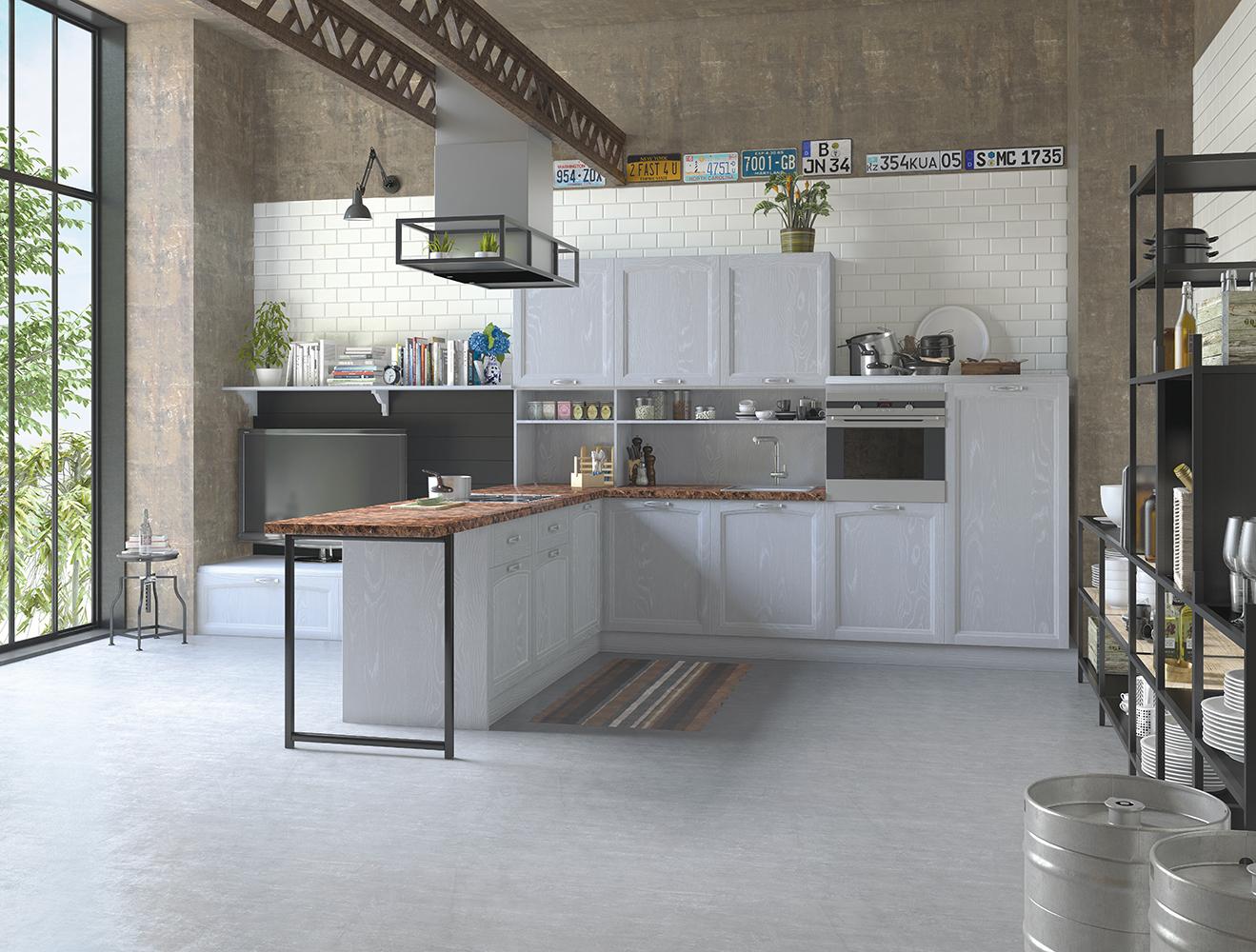 Кухня Амальфи серая в стиле Лофт